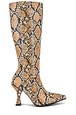 Jeffrey Campbell Corrode Boot in Beige Snake & Brown Suede