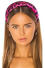 Jennifer Behr Thada Headband in Fuchsia Leopard Print