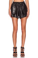 Leather Drawstring Short in Black