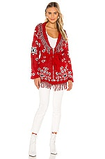 Jen's Pirate Booty Bandana Cardigan in Red