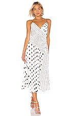 JILL JILL STUART Pleated Polka Dot Dress in Black & White