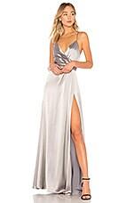 JILL JILL STUART Metallic Wrap Gown in Silver Grey