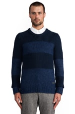Cable Stripe Sweater in Indigo Blue