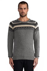 Finn Jacquard Sweater in Light Grey Melange
