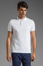 Rubi Slim JL Pique Melange Polo in White