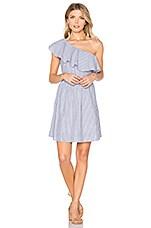 J.O.A. One Shoulder Stripe Mini Dress in Navy & White