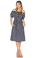 J.O.A. Stripe Off The Shoulder Dress in Navy Multi