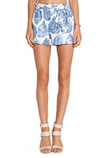 Leaf Print Easy Shorts in Ivory & Blue