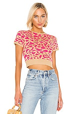 J.O.A. Leopard Short Sleeve Sweater in Pink Multi