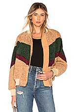 J.O.A. Colorblock Teddy Faux Fur Jacket In Beige & Forest
