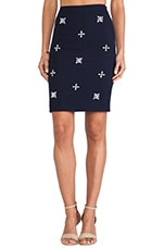 Embellished Pencil Skirt in Navy