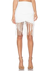 Assymetric Fringe Skirt in Off White