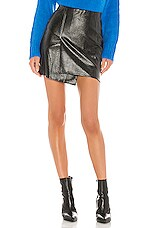 J.O.A. Faux Leather Overlap Mini Skirt in Black