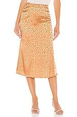J.O.A. Woven Bias Cut Midi Skirt in Brown Leopard