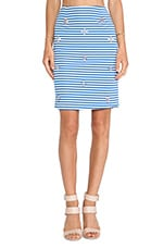 Embellished Pencil Skirt in Blue Striped