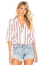 J.O.A. Striped Deep V Neck Top in Red Stripe