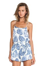Leaf Print Cami Tank in Ivory & Blue