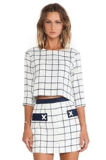 Plaid Woven Top in Ivory & Navy