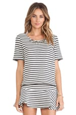 J.O.A. Striped Embo Top in Charcoal & White