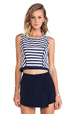 Striped Panel Sleeveless Top in Navy Stripe
