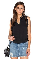 Ruffle Sleeveless Front Keyhole Top in Black