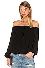 Off The Shoulder Long Sleeve Top en Noir