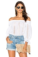 Off Shoulder Eyelet Top in White