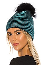 jocelyn Metallic Silver Fox Fur Pom Beanie in Teal Metallic