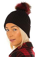 jocelyn Multi Fox Fur Pom Knit Hat in Black