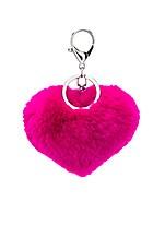 jocelyn Rex Rabbit Heart Keychain in Fuchsia