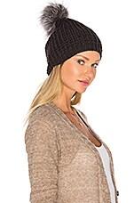 jocelyn Silver Fox Pom Knit Hat in Dark Grey