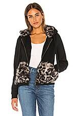 jocelyn Longhair Rabbit Fur Section Zip Up Hoodie in Black & Grey