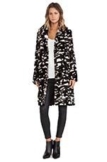 Camouflage Shawl Collar Rabbit Fur Coat in Beige Combo