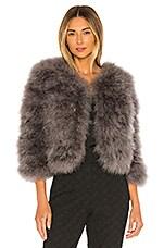 jocelyn Fifi Solid Feather Bolero Jacket in Grey