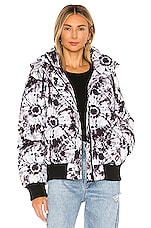 jocelyn Puffer Jacket in Black & White Tie Dye