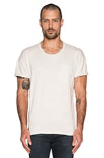 Arrie Crew Notch Tee Solid Slub Jersey in Vintage White