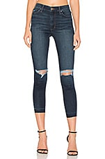 The Charlie High Rise Crop Skinny in Distressed Medium Blue