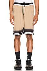 JOHN ELLIOTT Dip Dye Basketball Shorts in Gold & Black