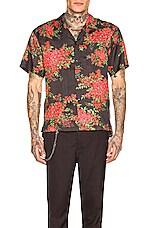 JOHN ELLIOTT Bowling Shirt in Black Bougainvellea