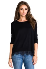 Hilano Sweater with Lace Trim in Caviar