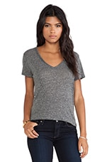 Naeva V Neck Tee in Heather Dark Charcoal
