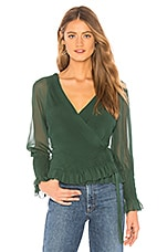 Joie Kaliska Wrap Top in Hunter Green
