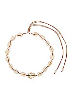 joolz by Martha Calvo Single Gold Center Puka Choker in Natural & Gold