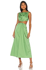Johanna Ortiz Rowboat Midi Dress in Delirium Green