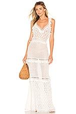 JONATHAN SIMKHAI Lace Combo V Neck Maxi Dress in White