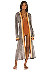JONATHAN SIMKHAI Metallic Kimono in Tangerine Stripe