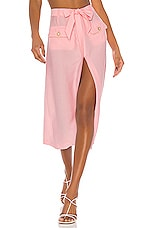 JONATHAN SIMKHAI Piped Luxe Front Slit Skirt in Cherry Blossom