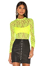 JONATHAN SIMKHAI x REVOLVE Long Sleeve Bodysuit in Neon Yellow Lace