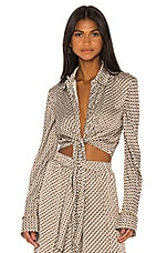 JONATHAN SIMKHAI Chain Print Front Twist Top in White Combo