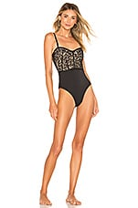 JONATHAN SIMKHAI Lace Combo Bustier One Piece in Black